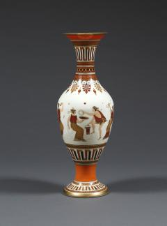 A Pair of White Opaline Glass Polychrome Enamel Vases In The Etruscan Style - 509241