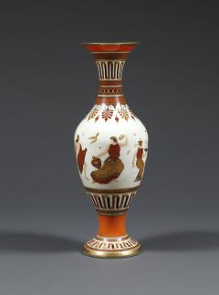 A Pair of White Opaline Glass Polychrome Enamel Vases In The Etruscan Style - 509242