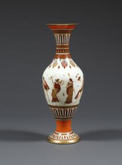 A Pair of White Opaline Glass Polychrome Enamel Vases In The Etruscan Style - 509246