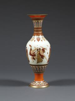 A Pair of White Opaline Glass Polychrome Enamel Vases In The Etruscan Style - 509247