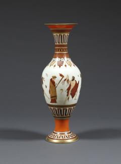 A Pair of White Opaline Glass Polychrome Enamel Vases In The Etruscan Style - 509249