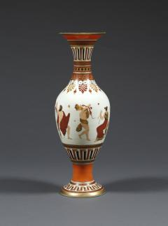 A Pair of White Opaline Glass Polychrome Enamel Vases In The Etruscan Style - 509251