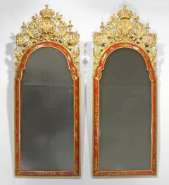 A Pair of William Mary Red Japanned Pier Mirrors - 1306348