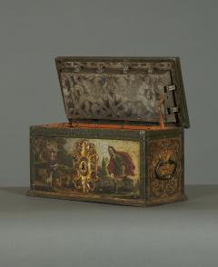 A Polychrome Painted Iron And Engraved Blued Steel Strongbox Of Small Scale - 1411599