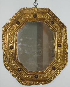 A Rare Gilt Copper Repous e Octagonal Mirror with Inset Hard Stones - 194068