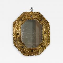 A Rare Gilt Copper Repous e Octagonal Mirror with Inset Hard Stones - 194190