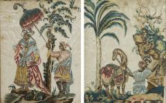 A Rare Pair Of Embroidered Silk And Silver Thread Pictures Depicting - 923564