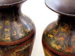 A Rare Pair of Kashmiri Indo Persian Lacquered Copper Vases - 610515