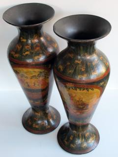 A Rare Pair of Kashmiri Indo Persian Lacquered Copper Vases - 610525