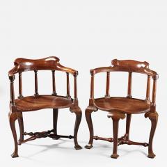 A Rare Pairing of Extraordinary George II English Walnut Windsor Armchairs - 184659