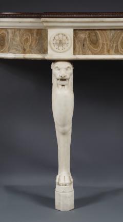 A Rare Statuary Marble And Alabastro Fiorito Monopodiae Side Table - 540579