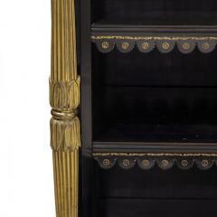 A Regency brass inlaid ebonized breakfront bookcase - 1164935