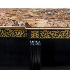 A Regency brass inlaid ebonized breakfront bookcase - 1164936