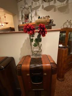 A Riecke French Art Deco Glass and Chrome Streamlined vase by Riecke - 1492581