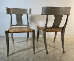 A Set Of 4 Swedish Neoclassic Grey Painted and Rush Seat Klismos Chairs - 1672481
