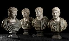 A Set Of Four Italians Specimen Marble Busts Of Roman Emperors Grand tour Style - 1964012