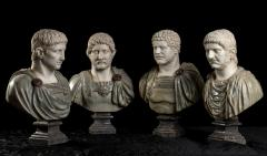 A Set Of Four Italians Specimen Marble Busts Of Roman Emperors Grand tour Style - 1964013