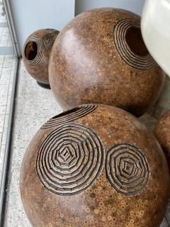 A Set of 7 American Modern Bamboo and Resin Composite Sphere Lights - 1753691