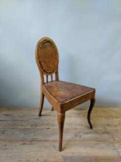 A Set of Eight French Leather and Oak Art Nouveau Chairs Circa 1910 - 353654
