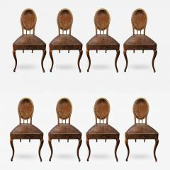 A Set of Eight French Leather and Oak Art Nouveau Chairs Circa 1910 - 353659