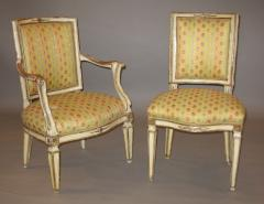 A Set of Four Neoclassic Neapolitan Painted and Mecca Gilded Chairs - 272629