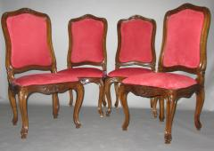 A Set of Four Walnut and Red Velvet Side Chairs - 272673