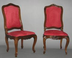 A Set of Four Walnut and Red Velvet Side Chairs - 272675