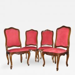 A Set of Four Walnut and Red Velvet Side Chairs - 273193