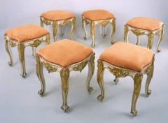 A Set of Six Carved Wood Tabourets with Original Paint and Gilding - 315457