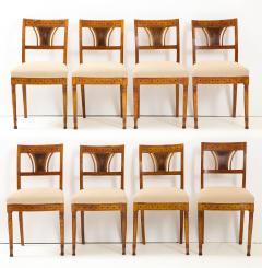 A Set of Six Danish Empire Inlaid Birchwood Sidechairs Circa 1810 1820 - 1279193