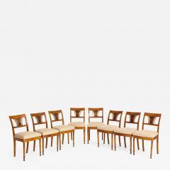 A Set of Six Danish Empire Inlaid Birchwood Sidechairs Circa 1810 1820 - 1280077