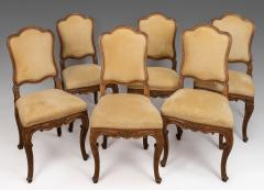 A Set of Six Italian Walnut Side Chairs with Cartouche Shaped Backs - 118149