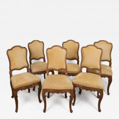 A Set of Six Italian Walnut Side Chairs with Cartouche Shaped Backs - 122026