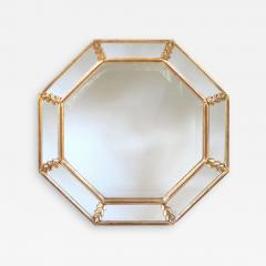 A Shimmering French Gilt Wood Octagonal Mirror with Foliate Elements - 192890