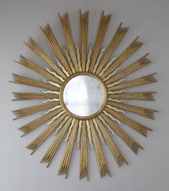 A Spectacular Large Sunburst Circular Mirror In Two Colors Of Gilding - 1285944
