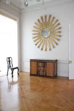 A Spectacular Large Sunburst Circular Mirror In Two Colors Of Gilding - 1285956