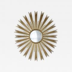 A Spectacular Large Sunburst Circular Mirror In Two Colors Of Gilding - 1291568