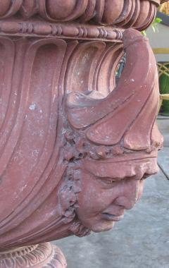 A Stunning English Neoclassical Style Terra Cotta Garden Urn with Mask Handles - 535406
