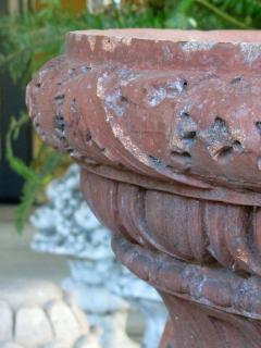 A Stunning English Neoclassical Style Terra Cotta Garden Urn with Mask Handles - 535409