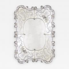 A Stunning and Shapely Venetian Rectangular Form Etched Mirror - 305624