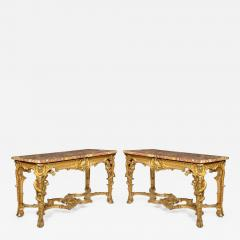 A Superb Pair Of Giltwood Console Tables With Original Marble Tops - 1227042