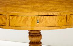 A Swedish Karl Johan Birch Root Drum Table Circa 1830s - 872397