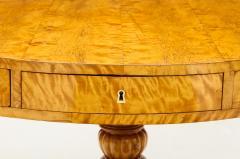A Swedish Karl Johan Birch Root Drum Table Circa 1830s - 872403