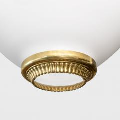 A Swedish mid century pendant with white satin glass shade and polished brass  - 1187901