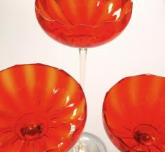 A Vibrant Set of 3 Murano Orange Glass Compotes on Clear Glass Stems - 288998
