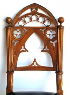 A Well Carved Set of 4 Gothic Revival Walnut Side Chairs - 327343