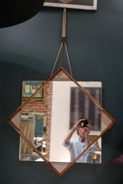 A Wood and glass italian mirror 1960 - 1072827