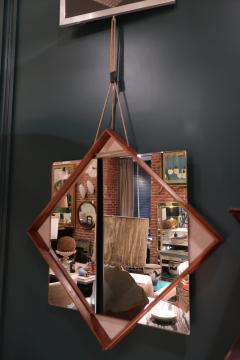 A Wood and glass italian mirror 1960 - 1072829