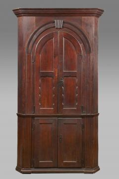 A York County Pennsylvania Walnut Blind Door Architectural Corner Cupboard - 155048