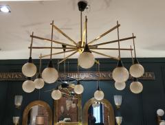 A brass and opaline ceiling lamp in the style of Stilnovo Italy 60 - 776617